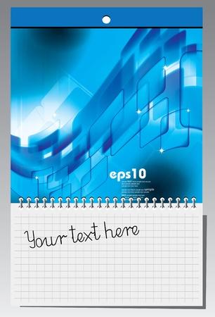 cuaderno espiral: Cuaderno de espiral con ilustraci?n abstracta  Vectores