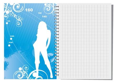 cuaderno espiral: Cuaderno de espiral con ilustraci?bstracta