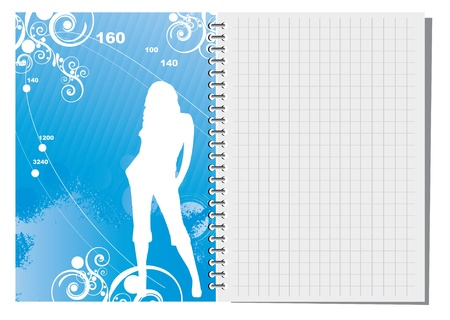 Spiral notebook with abstract illustration  Vector