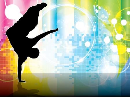 hip hop dancing: illustration of breakdancer. Illustration