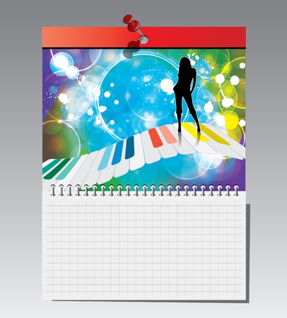 Spiral notebook with illustration Vector