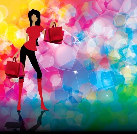 shopper: Frau mit Einkaufstaschen