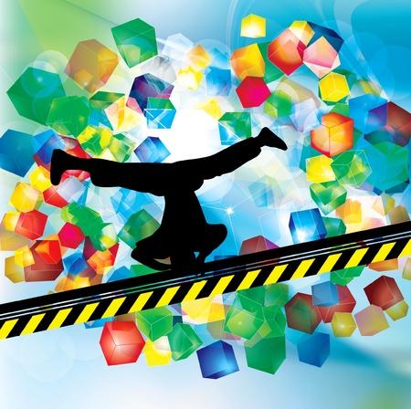illustration of breakdancer.  Vector