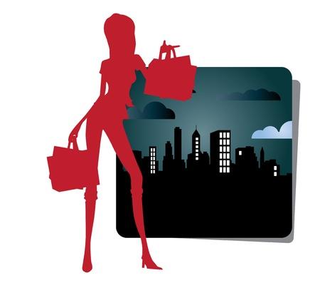 Urban shopping girl icon Vector