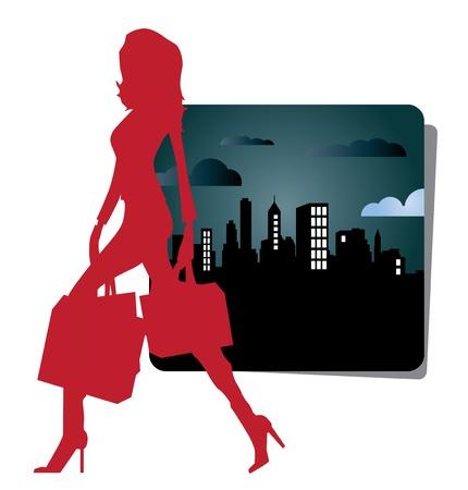 Urban shopping girl icon Stock Vector - 9868695