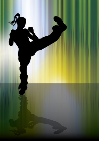 warrior pose: Karate illustration Illustration