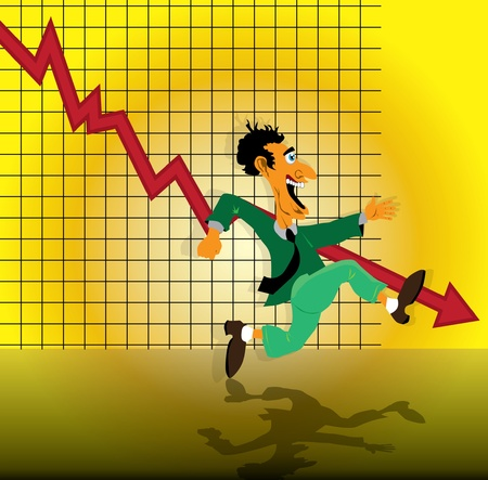 Businessman running with bar on a declining graph in background  Vector
