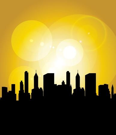 Sun in city Stock Vector - 9868736