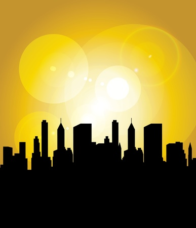 Sun in city Stock Vector - 9868736