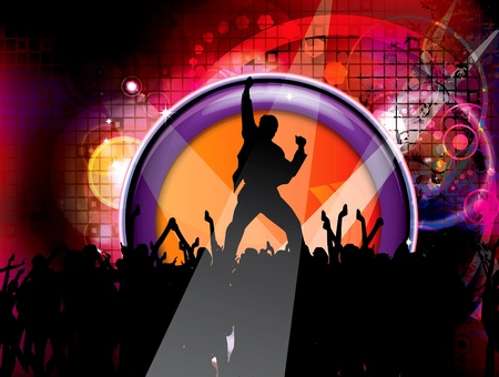 Dancing people on glowing background Stock Vector - 9658029