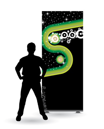 Businessman with roll up Vector
