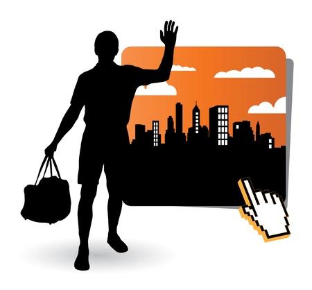 Tourist Travelers Men Vector