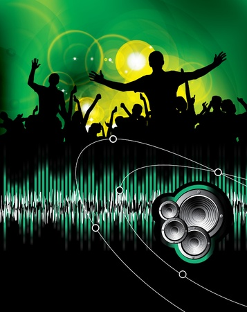 Large crowd of party people - vector background.  Vector