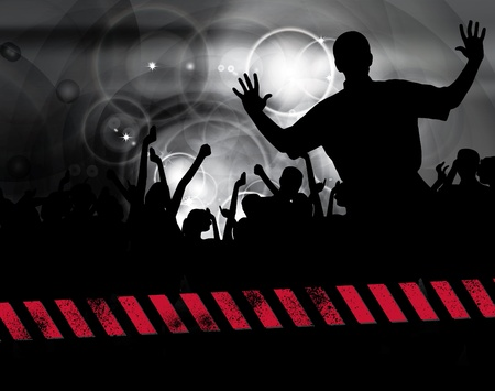 large crowd: Large crowd of party people - vector background.