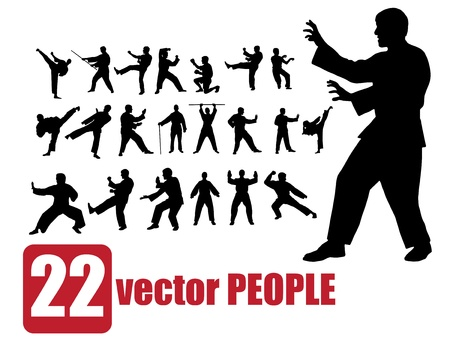 set of very detailed people karate  Stock Vector - 9862918