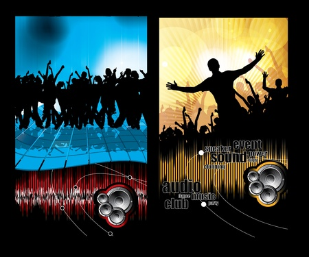 Large crowd of party people - vector background.  Stock Vector - 9822588
