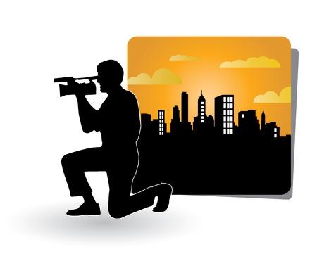 videocassette: Ilustraci�n del hombre con c�mara de video movie