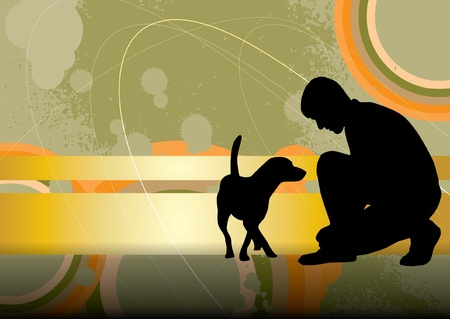 dog walking: Man and his dog Illustration