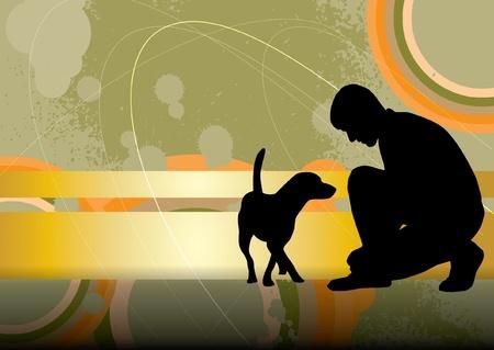 illustration man: Man and his dog Illustration