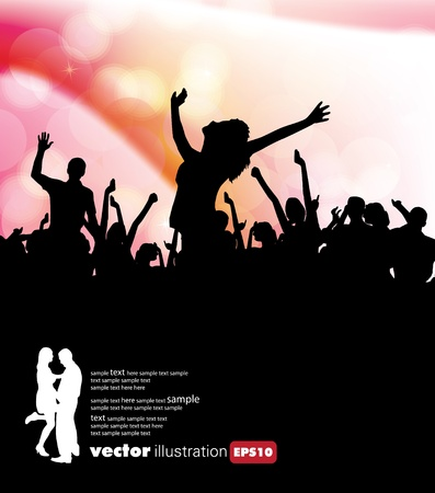 A crowd of people cheering at a concert.  Vector
