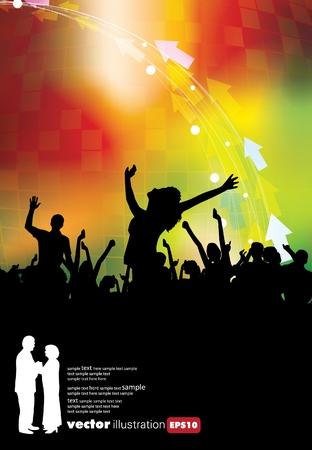 A crowd of people cheering at a concert.  Ilustrace