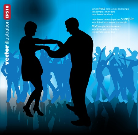 dancing club: A crowd of people cheering at a concert.  Illustration