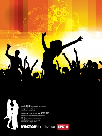 Large crowd of party people Stock Vector - 9744572