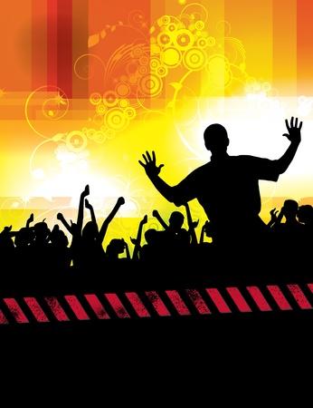 rave party: Fiesta fondo de personas  Vectores