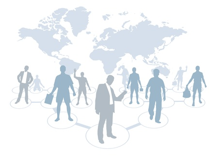 world group: Business people with world map background  Illustration