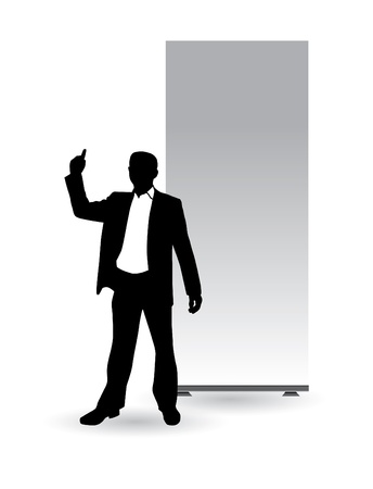 Businessman with empty roll up Stock Vector - 9744697