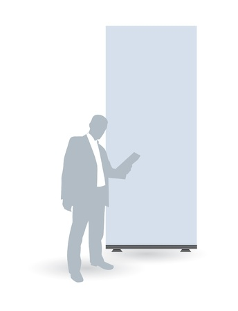Businessman with empty roll up Vector