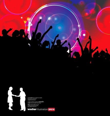Silhouette einer Menge von Party-People Standard-Bild - 9819933