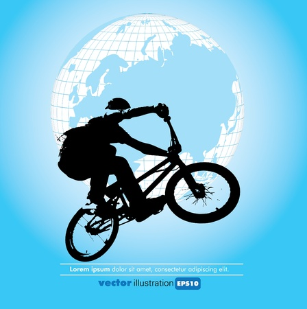 one wheel bike: Vector illustration of a biker