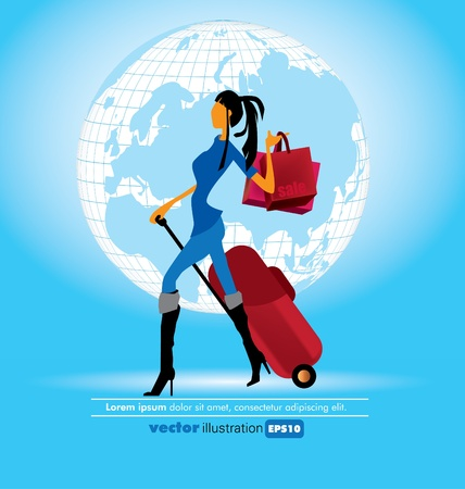 happy shopper: vector shopping girl