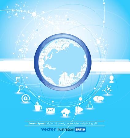 Tierra con enlaces de comunicación alrededor de  Ilustración de vector