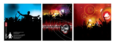 People dancing. 3 types of backgrounds party.  Stock Vector - 9822671