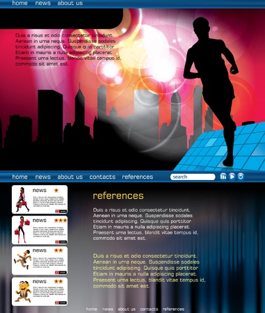web portal: Web layout with sport event subject  Illustration