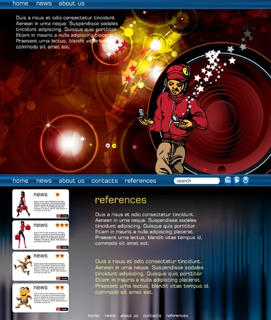 Web layout with music event subject  Vector