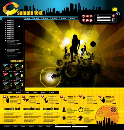 web portal: Web layout with music event subject