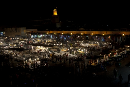 marocco: El Jemaa el fna sqare, Marrakesh  Very popular place for eating by night in Marocco