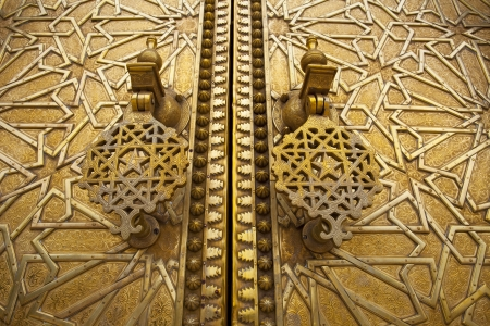 fes: Golden gate of the Royal Palace in Fes, Morocco