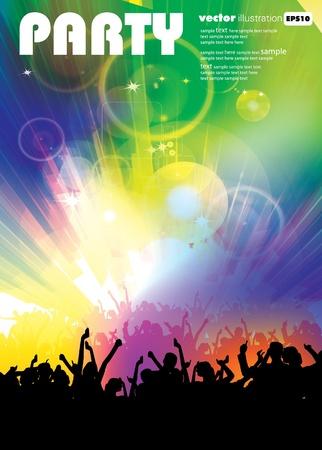 gente bailando: Música del cartel del evento. EPS10 ilustración vectorial. Vectores