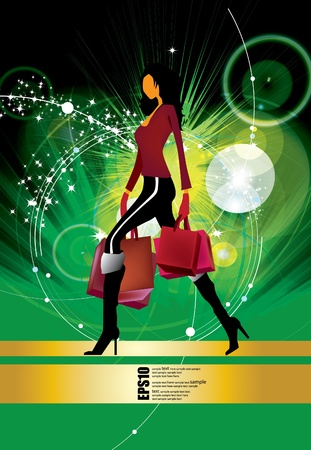 Young woman with shopping bags  Illustration