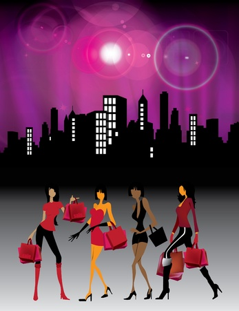 Young women with shopping bags Stock Vector - 10482497