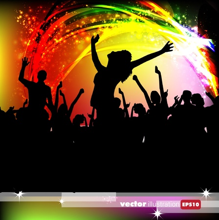 colorful light display: A crowd of people. Music event illustration.