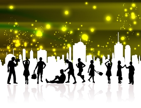 City and people Stock Vector - 10690655