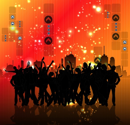 rave: EPS10 party people vector background  Illustration