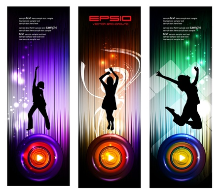 Disco party banners for web site.  Vector