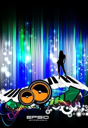 nightclub flyer: Music event illustration