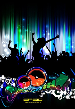 Group of people. Crowd in front of a stage. Vector  Stock Vector - 10909897